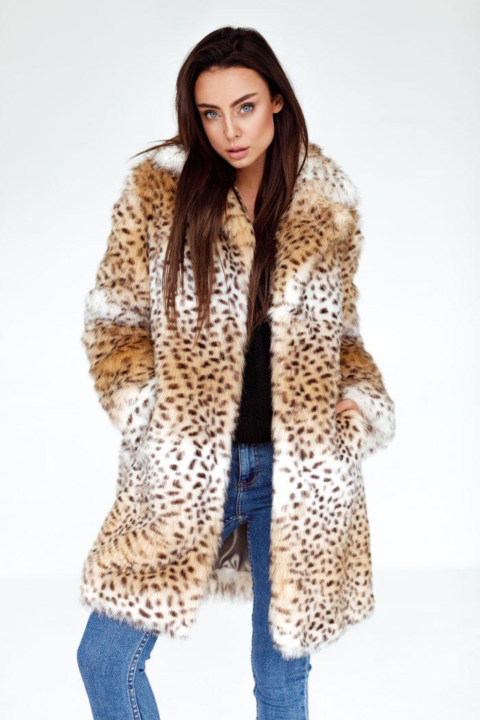Płaszcz Futrzany w Zwierzęcy Print SMOKEFURS