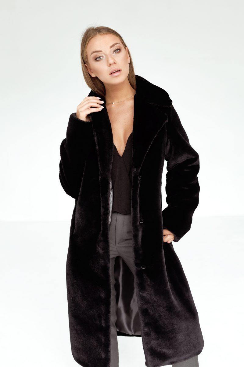 Czarny Długi Płaszcz Futrzany z Kołnierzem