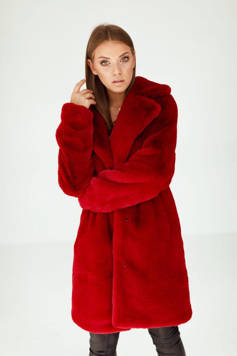 Damskie Czerwone Futerko Płaszcz ze Sztucznego Futra