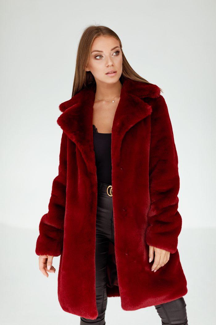 Burgundowy Płaszcz ze Sztucznego Futerka