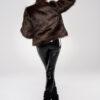 Brązowa brunatna futrzana kurtka bomberka sztuczne futerko