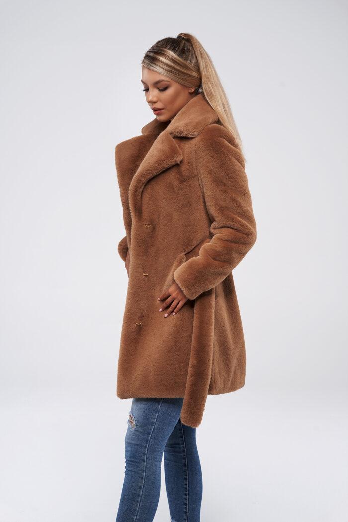 Camelowa dyplomatka płaszcz ze sztucznego futra