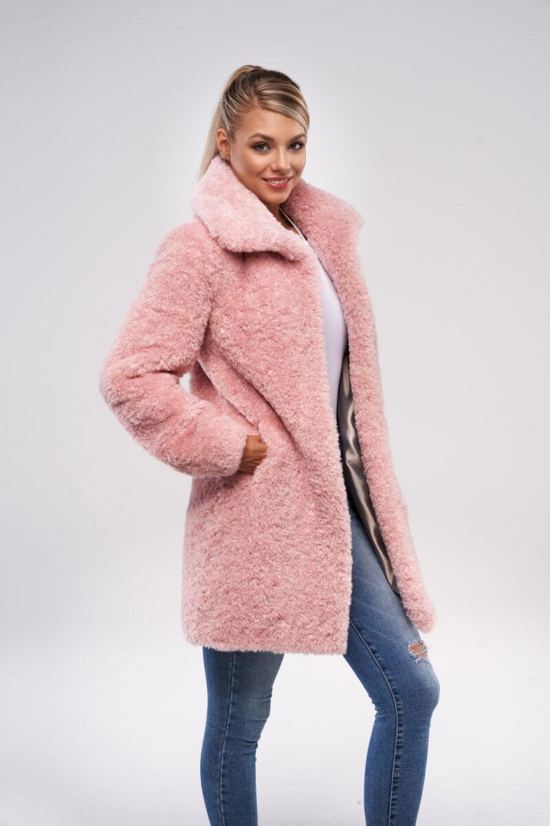 Różowy Pluszowy Płaszcz Teddy Bear ze Sztucznego Futra
