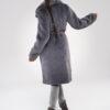 Szary długi płaszcz ze sztucznego futra z paskiem dyplomatka
